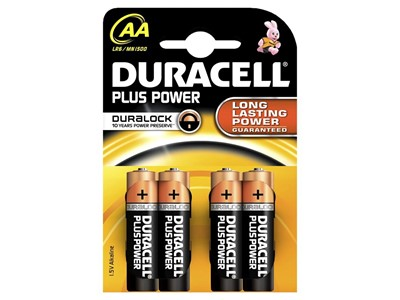 Batteri duracell plus str:aa 4 stk.