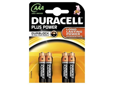 Batteri duracell plus str:aaa 4 stk.