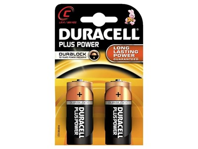 Batterier duracell plus str:c 2 stk.