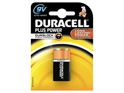 Batteri duracell plus 9v  1 stk.