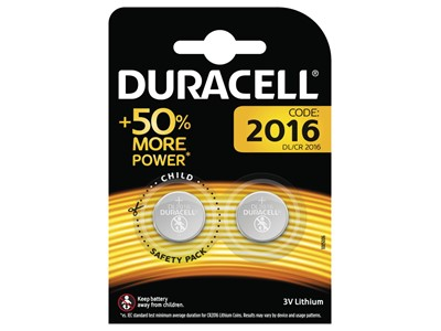 Batteri duracell plus cr2016, 2 stk.